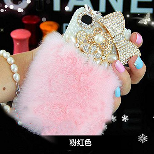 iPhone 7 Case - LU2000 Furry Rex Rabbit Fur Fluffy Phone Case Bling Crystals Diamond Sparkle Bedazzled for Apple iPhone 7 4.7 Inch All Version + Phone Velvet Pouch - Pink