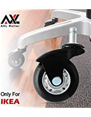 "AXL 2.5"" Office Chair Caster Wheel Replacement for IKEA Rollerblade Wheels Heavy Duty Casters for Hardwood Floors Safe, Set of 5 (AR-iK-0250006B-GRYB)"