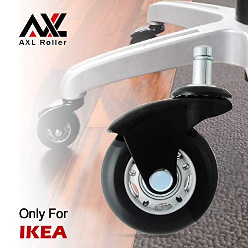 AXL 2.5 inch Office Chair Caster Wheel Replacement for Rollerblade Wheels Heavy Duty Casters for Hardwood Floors Safe (IKEA 10mm) (2.5 inch Black, Grey/Black)
