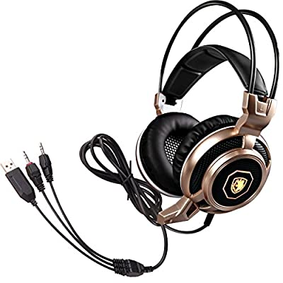 GW SADES Arcmage Updated Version 3.5mm PC Gaming Headset Headphones with High Sensitivity Microphone for PC/Notebook/Laptop(Golden)