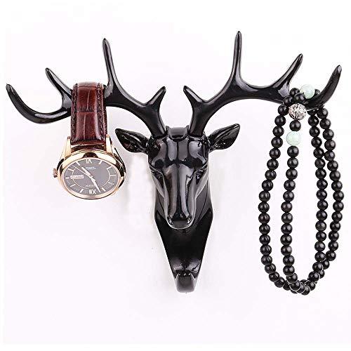 ONLY DEGREE Deer Hook/Animal Shaped Decorative Mount HookCoat Hat Hook,Easy to Install Resin Animal Shape Wall hat Hooks Black