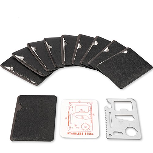 Stainless Steel 11 in 1 Beer Opener Survival Card Tool Fits Perfect in Your Wallet (10 -