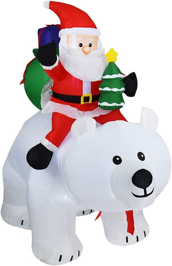 L.J.JZDY Decoraciones de Navidad 1.7m de Navidad Inflable Modelo Inflable Papá Noel Que Monta Oso Jardín Jardín Decoración Oso Puede Cabeza de la Sacudida