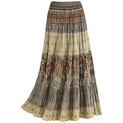 CATALOG CLASSICS Women's Sage Paisley Broomstick Skirt, Tiered Peasant Maxi - 2X