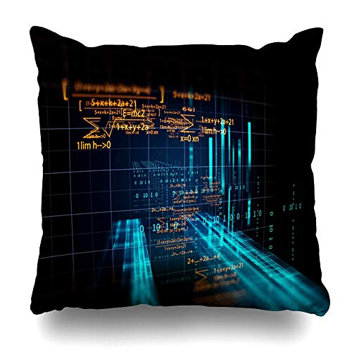 Ahawoso Throw Pillow Cover Blue Financial Block Chain Network Programming On Future Technology Science Abstract Bank Binary Code Decorative Zipper Cushion Case Square 20
