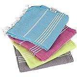 Clotho Towels - Turkish Bath and Beach Towel Set of 4 Variety Colors 100% Cotton Peshtemal Oversized 39 X 70