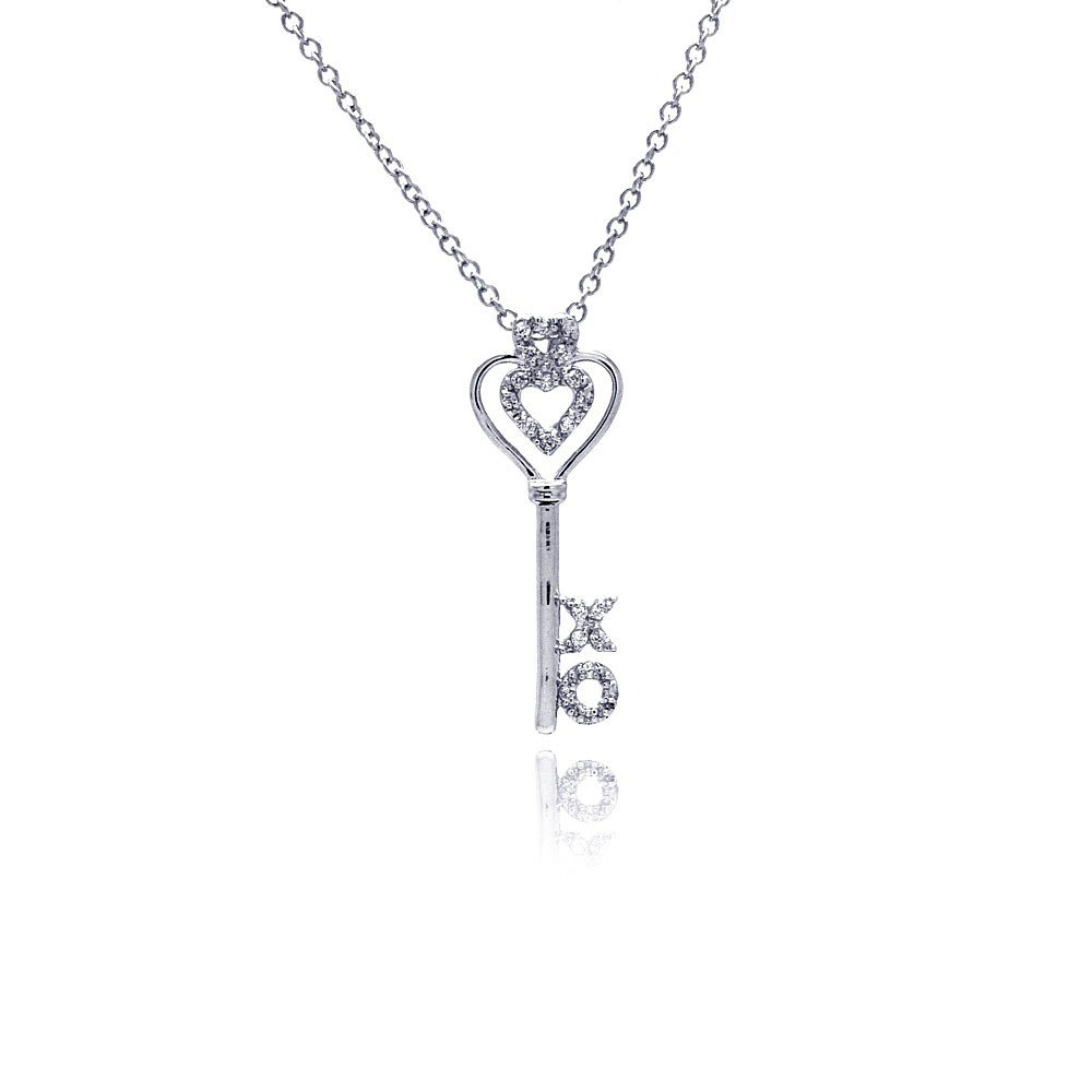 CloseoutWarehouse Clear Cubic Zirconia X O Heart Key Necklace Rhodium Plated Sterling Silver