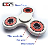 CZYY R-angle CUSTOMS DIRT RESISTANT Smooth Surface Finish Non-3D printed Spinner Fidget EDC ADHD Focus Toy Ultra Durable High Speed Si3N4 Hybrid Ceramic Bearing 1-3 Min Spins(White-Red)