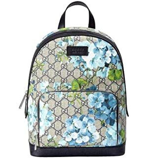 87e4e3dc0d90 Gucci Unisex Beige Blue Bloom GG Coated Canvas Small Backpack with Box  427042 8493