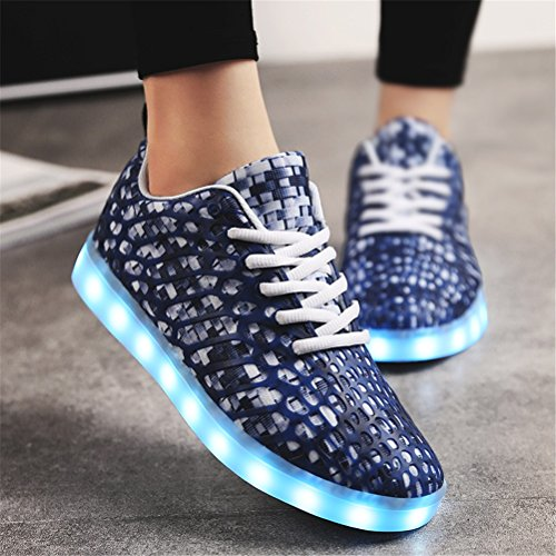 for Fall Shoes Purple Soles Sneakers Lovers Light Round Toe Color Heel up 43 Unisex Casual Low Size LED Light Green 2018 Shoes H Red Outdoor Spring qHXa8