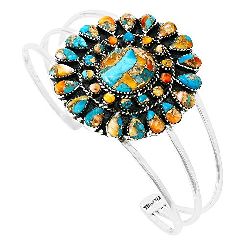 Spiny Turquoise Bracelet Sterling Silver 925 Genuine Turquoise & Spiny Oyster (Choose Style) (Blossom) by Turquoise Network