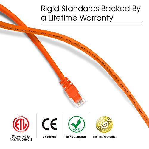 GearIT 100-Pack, Cat 6 Ethernet Cable Cat6 Snagless Patch 1 Foot - Snagless RJ45 Computer LAN Network Cord, Orange - Compatible with 5 Port Switch POE 5port Gigabit by GearIT (Image #4)