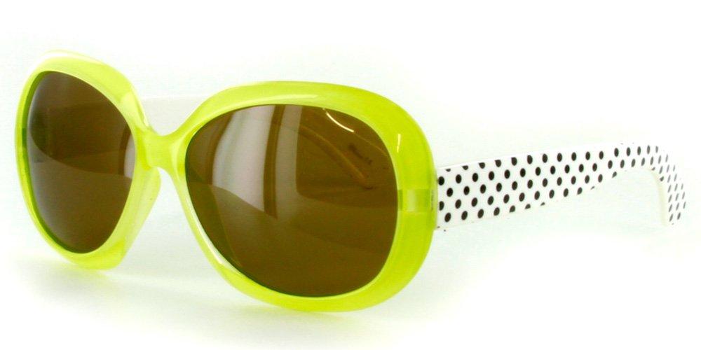 Aloha Eyewear Girls''Polka Dots'' Square 44mm Polarized Sunglasses (Green w/Amber Lens)