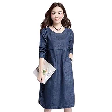 4b8ba4d3820 Drasawee Women s Long Sleeve Loose Casual Round Neck Denim Jeans Dress M