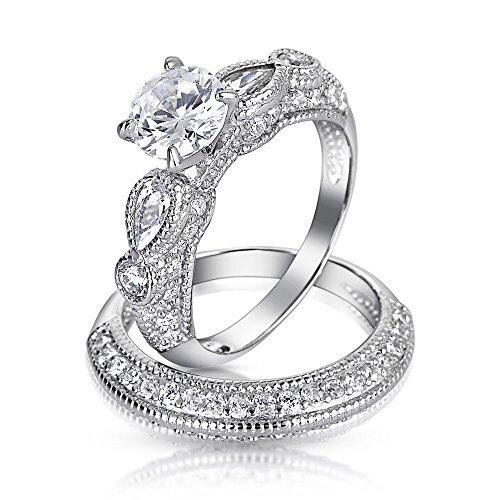 Bling Vintage Wedding Engagement Ring Set Round 2-ct CZ T...