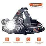 Headlamp Rechargeable, LED Headlight 4 Modes, LED Work Headlight Waterproof, Head Torch