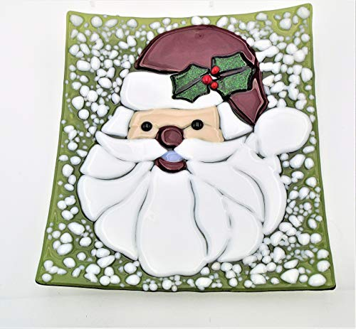 - Santa Cookie Plate Christmas Decorative Platter Handcrafted Fused Glass