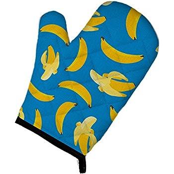 Caroline's Treasures BB5149OVMT Bananas on Blue Oven Mitt, Large, multicolor