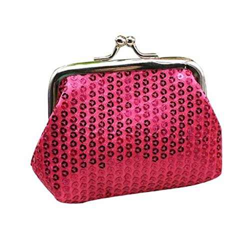 Bolsa de Mano Cartera de Lentejuelas, Holacha Mini Monodero Clutch para Mujeres Chicas rosa fuerte