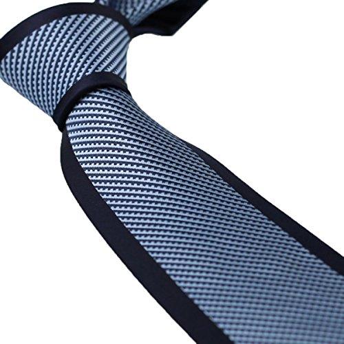 Coachella Ties Bordered Diagonal Stripes Tie Microfiber Formal Necktie 8.5cm (Blue)