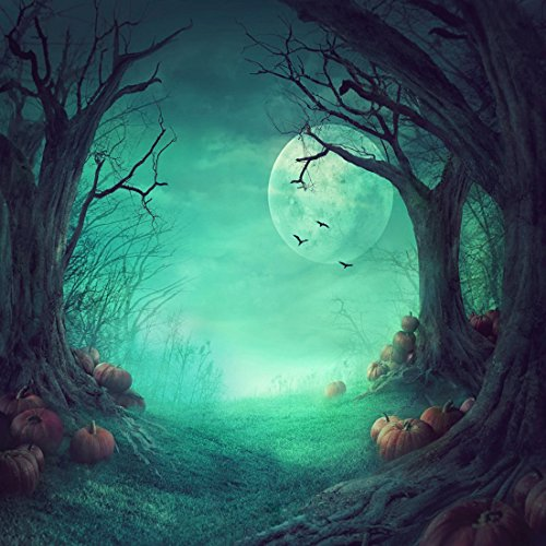 8x8ft Halloween Pumpkin & Horror Nights Moon & Mysterious Forest & Costume Party Masquerade Decoration Photo Backdrops CP Customized Studio Background Studio Props -