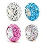 4 Crystals Charm Beads Fits European Bracelet, Crystal Rainbow, Clear, Pink and Blue Charms - 4 Pieces