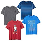 An Amazon brand - Two solid color tees and two graphic-print tees make this pack a go-to pick for versatile everyday style