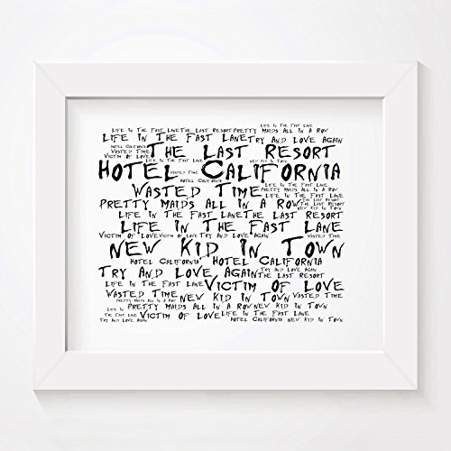 `Noir Paranoiac` Art Print - THE EAGLES - Hotel California - Signed & Numbered Limited Edition Typography Unframed 10x8 Inch Album Wall Art Print - Song Lyrics Mini Poster by LISSOME Art (Limited Edition Eagle)