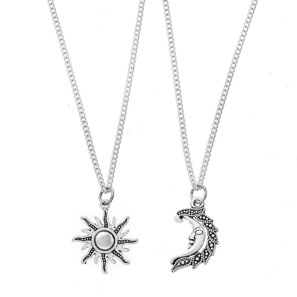 Set of 2 Gold Plated Stainless Steel Best Friend Moon and Sun Matching BFF Friendship Necklace for 2 Jewelry Gift