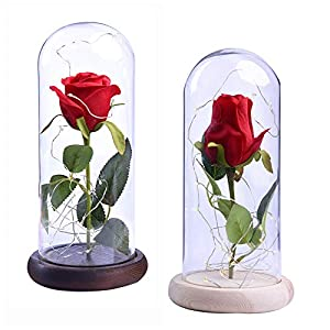 Yinrunx Rose and LED Light in a Glass Dome for Valentine's Gifts Wedding Anniversary Birthday 68