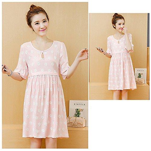 Dress Round Nursing Pink Floral Sleeve line A Neck ZEVONDA Half Maternity Breastfeeding Womens Dresses 0POqwxEa