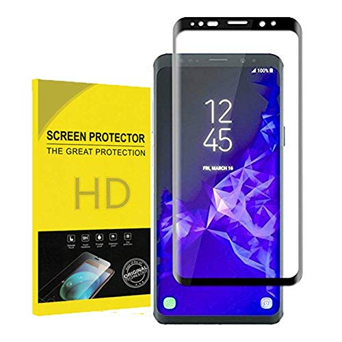 Galaxy S9 Tempered Glass Screen Protector,Webmi[3D Curved Edge Full Coverage][9H Hardness][No Bubble][Anti-Scratch] Screen Protector Samsung Galaxy S9 (Black)(Web-Jiu