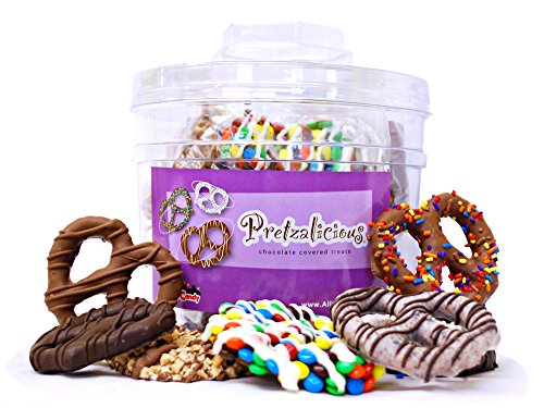 Hand Dipped Pretzels - All City Candy's Bucket of Fun Hand Dipped Gourmet Chocolate Covered Pretzels and Cookies