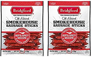 product image for Bridgford Smokehouse Sausage Sticks | Hot & Spicy Recipe | 6 Oz Bag | Two Bags