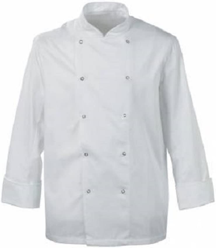 CHEFS WHITE JACKET INS02 WHITE WITH BLACK POPPER BUTTONS FULL SLEEVES