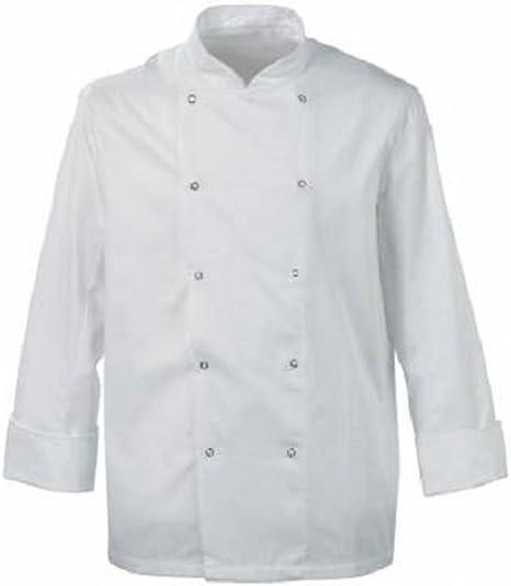 abbigliamento completo bianco//grembiuli unisex White maniche Giacca da cucina con chiusura a bottoni small INS05