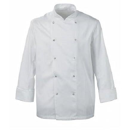 Chaqueta blanca de chef con cierre de botón a presión, mangas largas