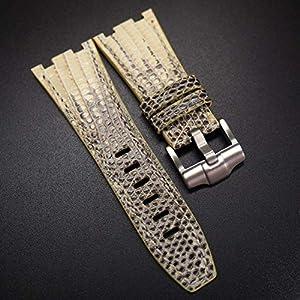 Best Epic Trends 51hDRT7YPHL._SS300_ 28mm Eggnog Yellow/Black Snake Leather Watch Strap For 42mm Audemars Piguet Royal Oak Offshore