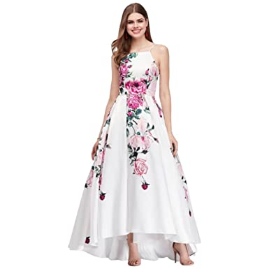 David\'s Bridal High-Neck Floral Print High-Low Prom Dress Style ...