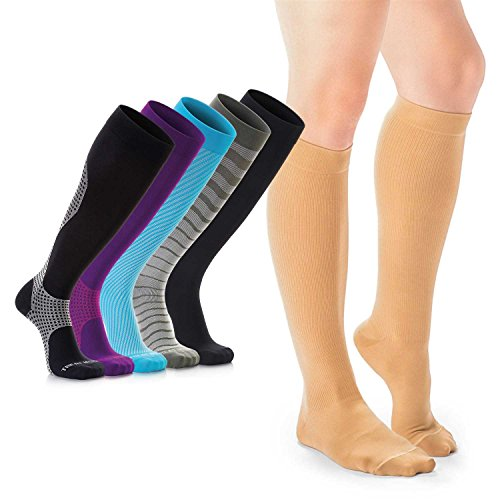 Compression Socks for Women & Men, Soft & Comfortable Knee High Compression Stockings for Swollen Feet and Ankles, Support Knee Highs Help Relieve Pain in Calves, Swelling in Legs, FDA registered - M