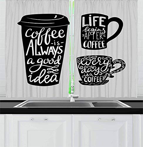LQQBSTORAGE Coffee Kitchen Curtains,About Coffee with Take Away Mug Cup Silhouette Drinking Addiction Theme Grommet Window Curtain Drape Panels 2 Panel Set W84 x L96/Pair Pale Grey Black -
