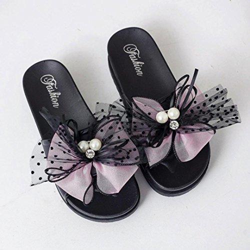 Pantofola Per Hatop Per Le Donne, Sandali Con Zeppa Bowknot Da Spiaggia Estiva Da Donna, Sandali Con Zeppa Casual Rosa