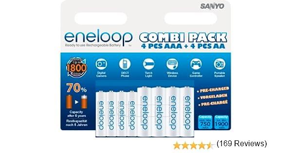Sanyo Eneloop HR-3UTGB - Pack de 8 pilas AA/AAA (1900/750 mAh): Eneloop: Amazon.es: Electrónica