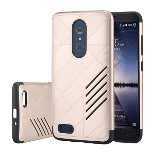 GBSELL Fashion Hybrid ShockProof Hard Protective Case Cover for ZTE Zmax Pro Z981 (Gold)