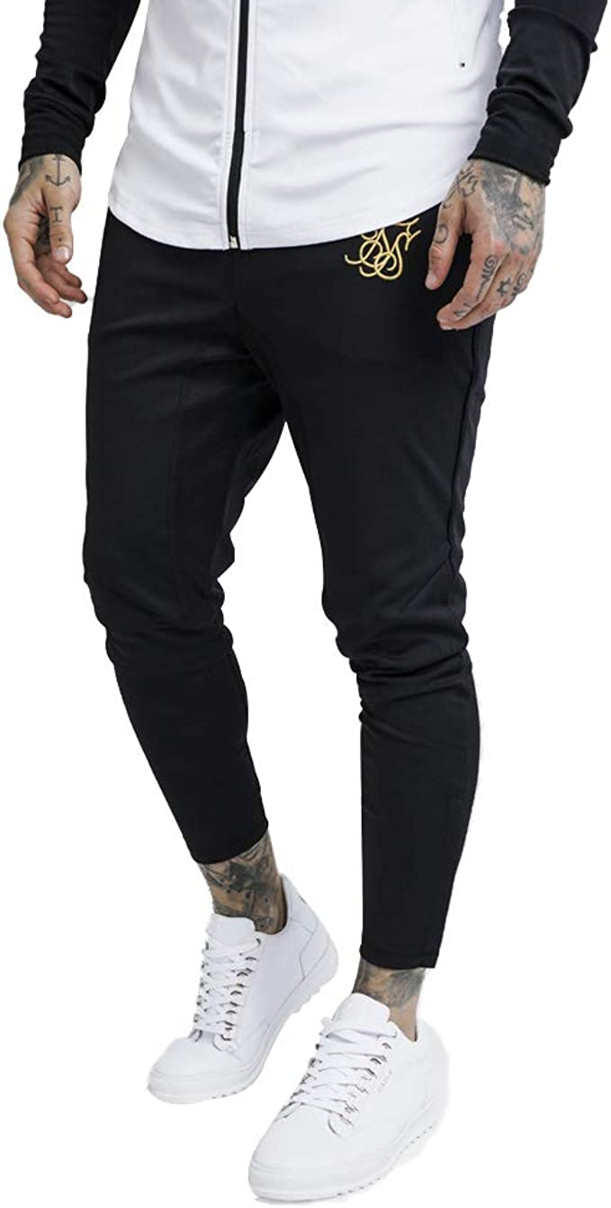 Sik Silk Pantalon Chandal Negro Logo Oro Hombre 13642
