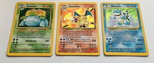 Pokemon - Charizard Venusaur and Blastoise Base Set Original Holographic Cards by Wizards of the Coast