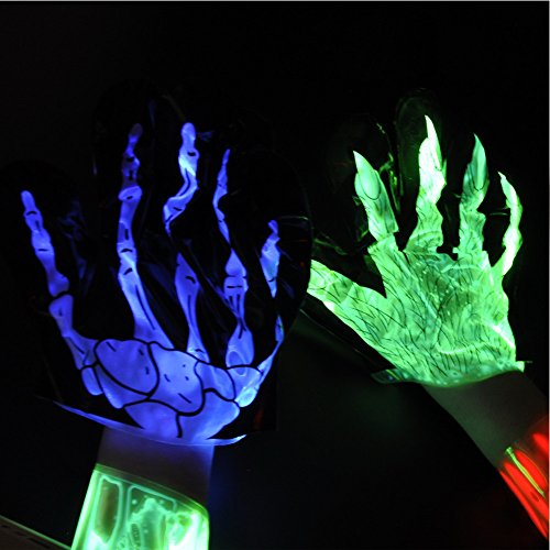 Madonna Boy Toy Halloween Costume (Halloween Glow Glove Cool Light up Toy 3 Pack Skeleton,Claw,Vein)