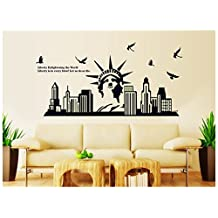 ufengke® New York Cityscapes Statue of Liberty Wall Decals Fluorescence Stickers Glow In The Dark, Living Room Bedroom Removable Wall Stickers Murals