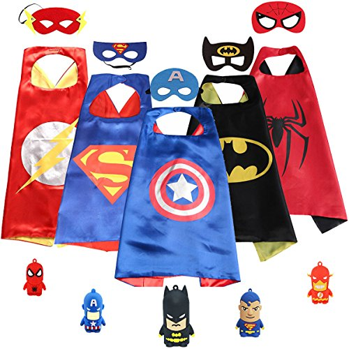 3KINGS Comics Cartoon Dress Up Costumes 5Pcs Capes and Masks with 5 Pcs Finger (Family Superhero Costumes)