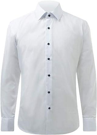 Dobell Camisa de Vestir Blanca Lisa con Cuello estándar y Botones en Contraste: Amazon.es: Ropa y accesorios